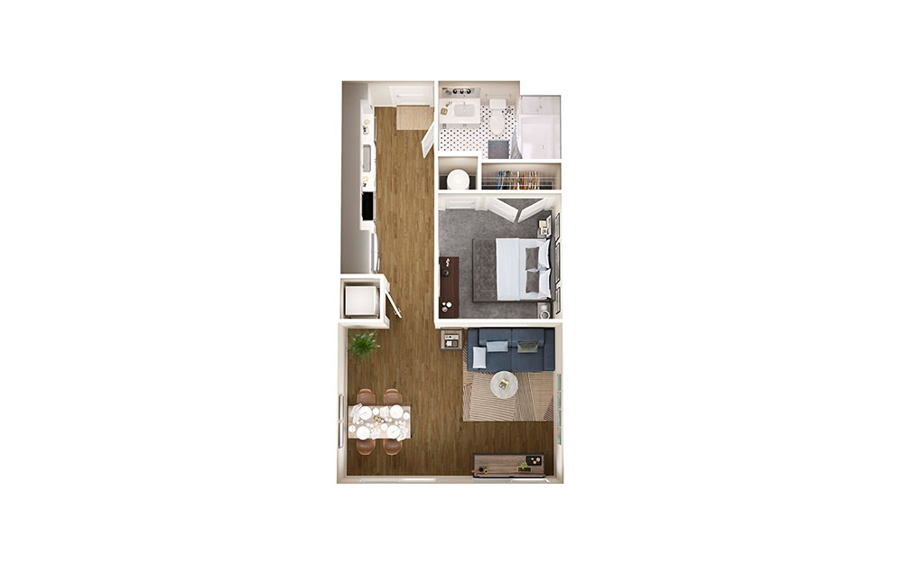 A0 - Studio floorplan layout with 1 bath and 576 square feet.