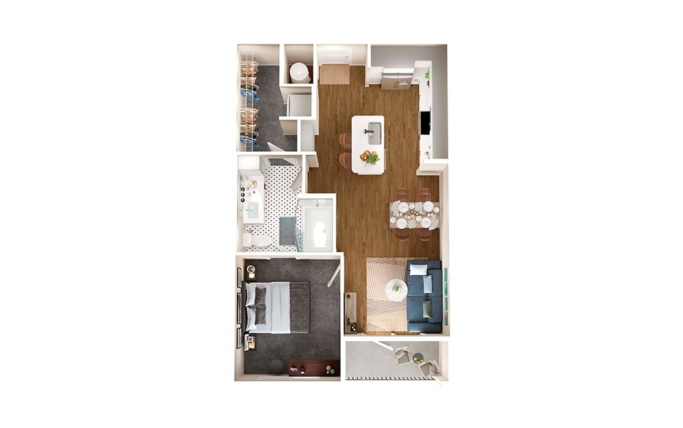 A1 - 1 bedroom floorplan layout with 1 bath and 651 square feet.