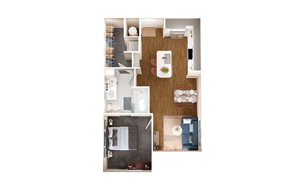 A1A - 1 bedroom floorplan layout with 1 bath and 693 square feet.