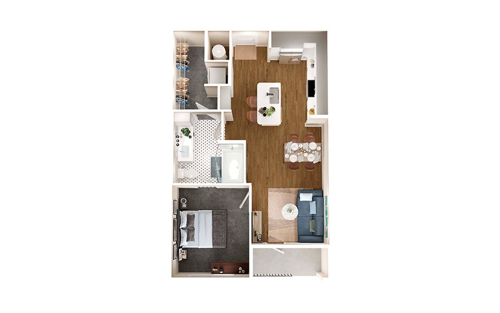 A1E - 1 bedroom floorplan layout with 1 bath and 651 square feet.