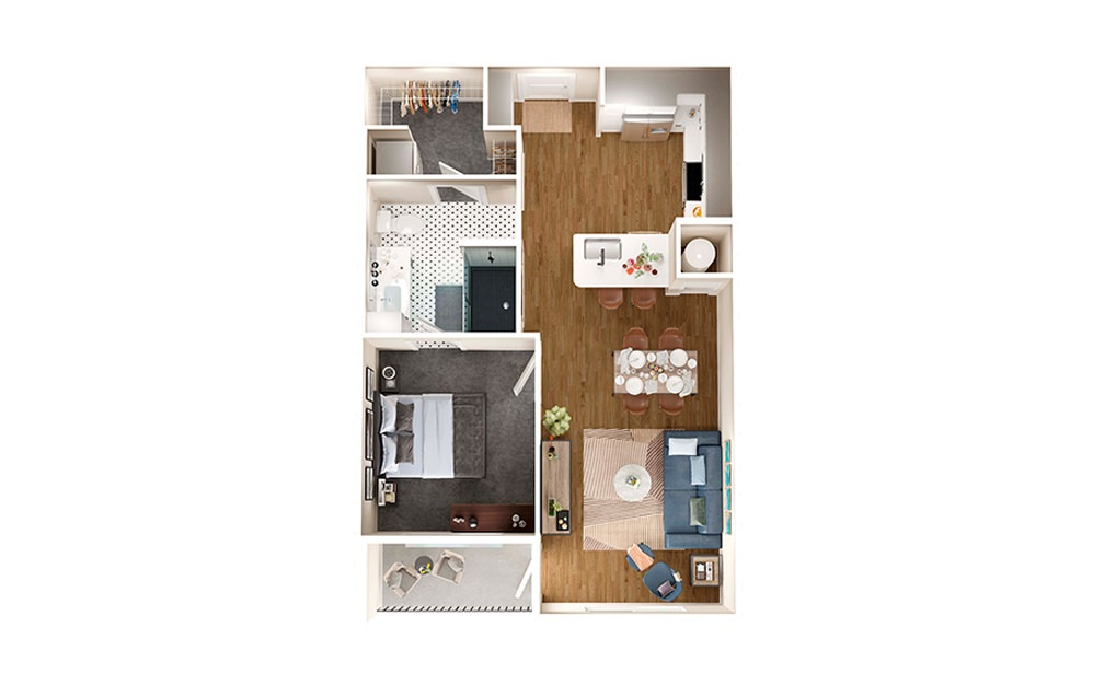 A2 - 1 bedroom floorplan layout with 1 bath and 686 square feet.