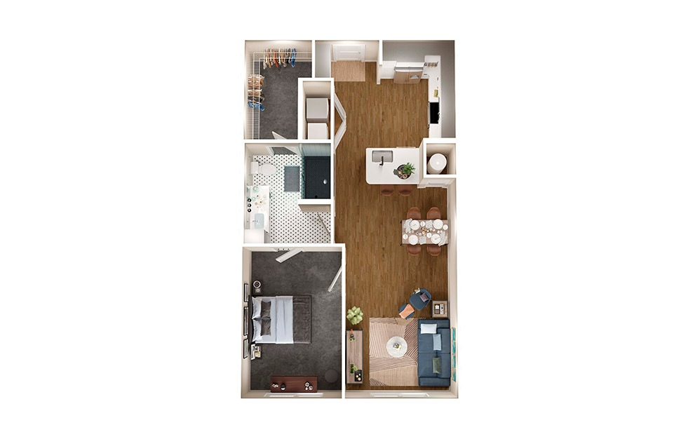 A2A - 1 bedroom floorplan layout with 1 bath and 731 square feet.