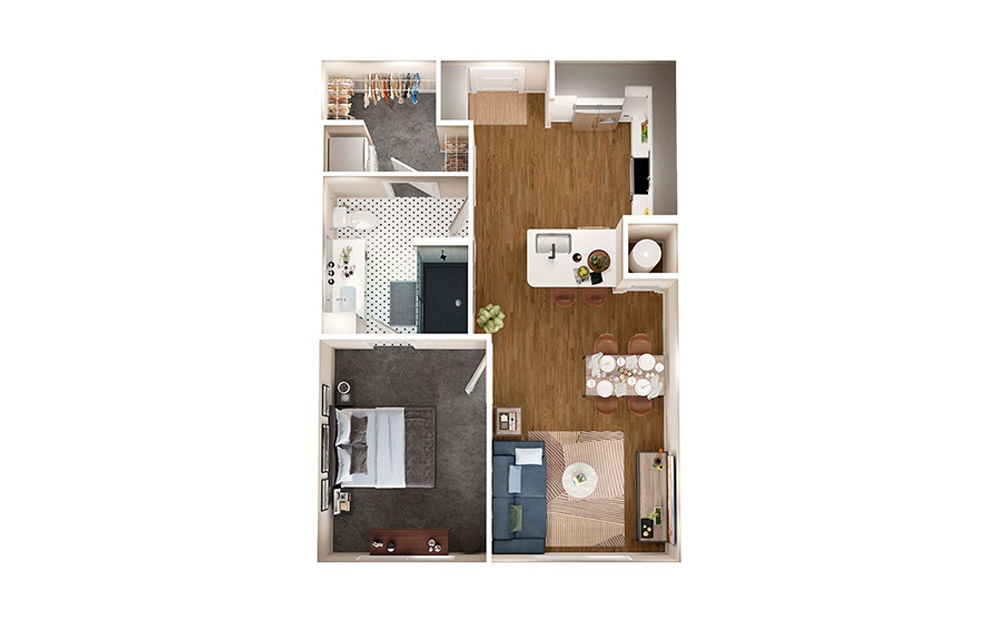 A2B - 1 bedroom floorplan layout with 1 bath and 654 square feet.