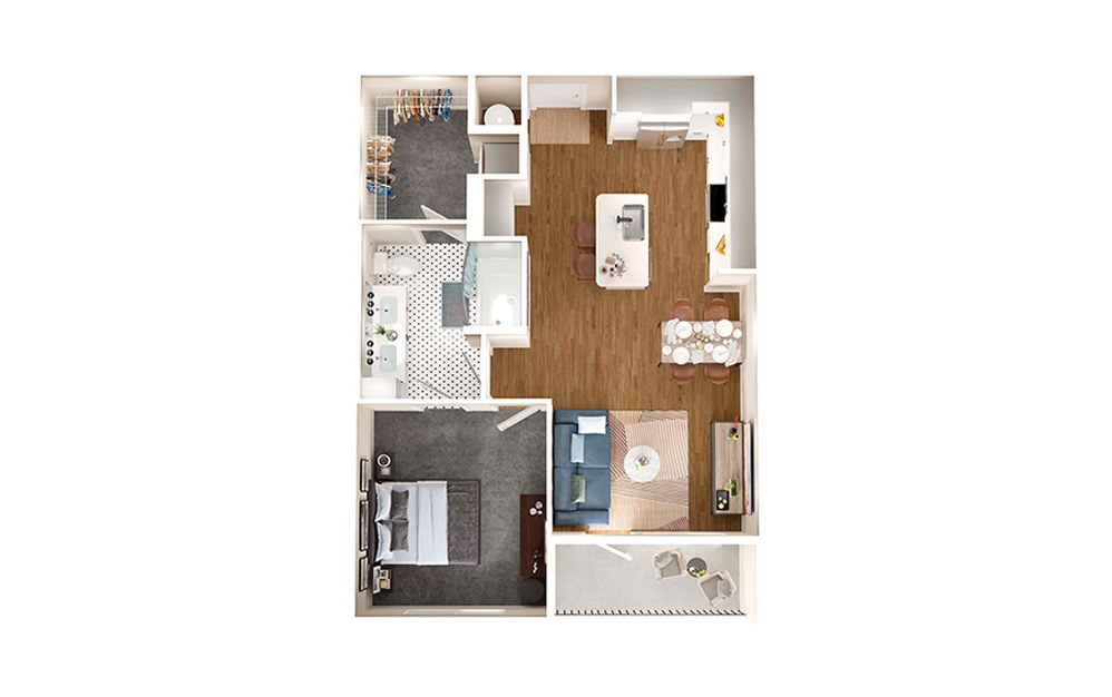 A3 - 1 bedroom floorplan layout with 1 bath and 735 square feet.