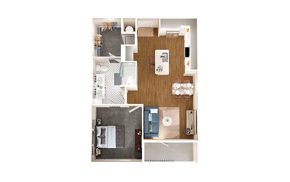A3C - 1 bedroom floorplan layout with 1 bath and 699 square feet.