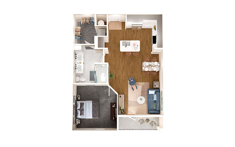 A4 - 1 bedroom floorplan layout with 1 bath and 767 square feet.