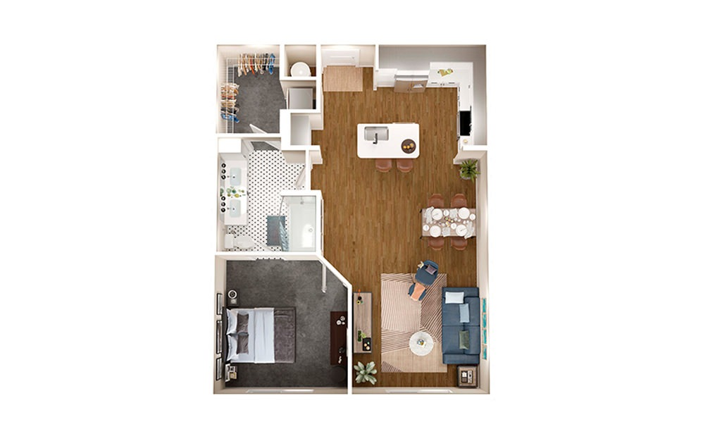 A4A - 1 bedroom floorplan layout with 1 bath and 817 square feet.