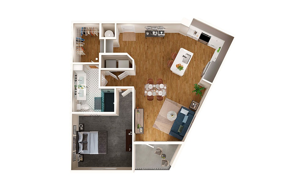 A5 - 1 bedroom floorplan layout with 1 bath and 891 square feet.