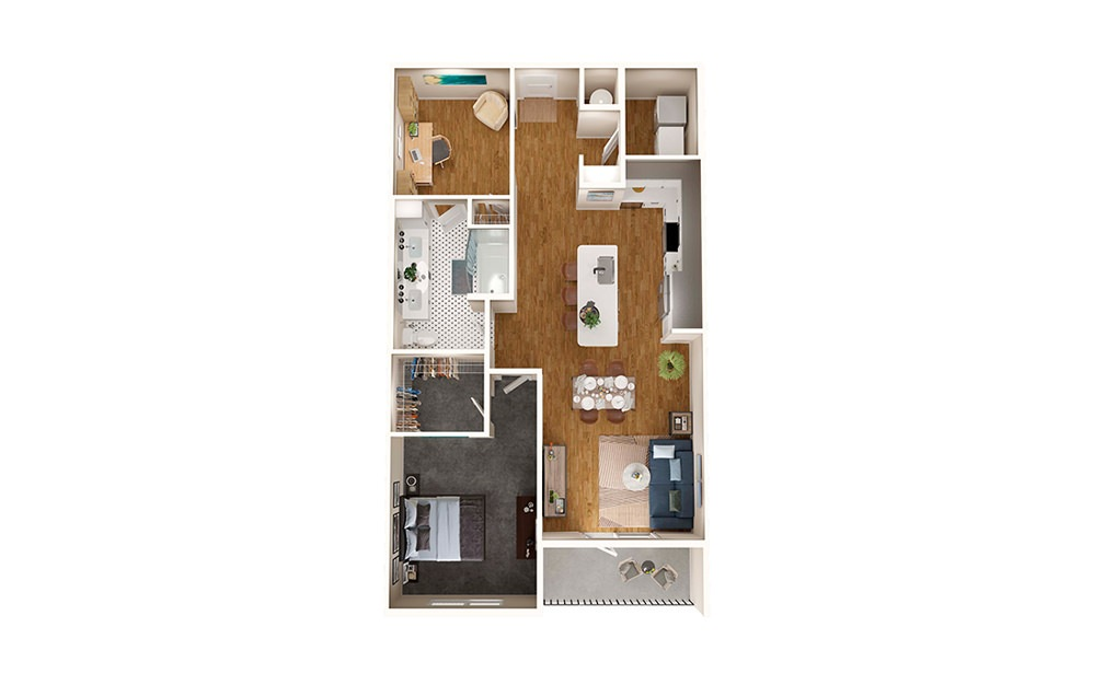 A6 - 1 bedroom floorplan layout with 1 bath and 957 square feet.