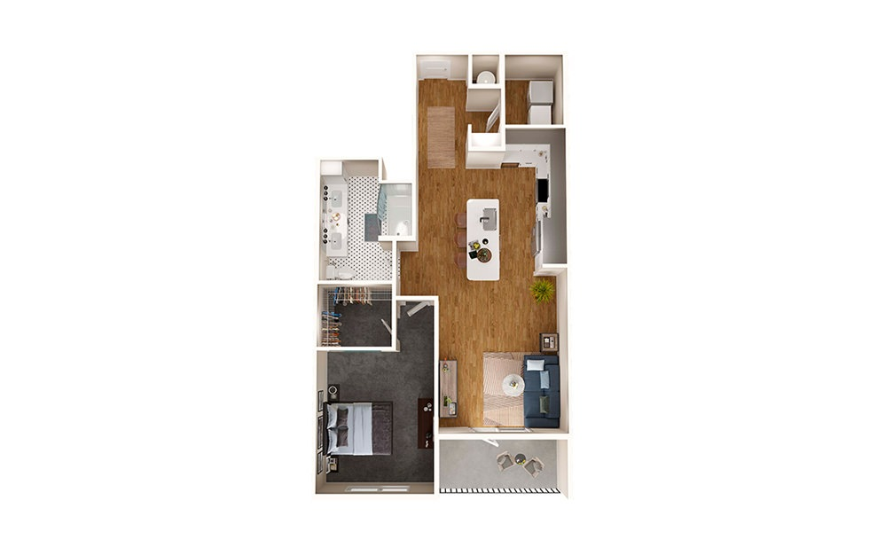 A6A - 1 bedroom floorplan layout with 1 bath and 853 square feet.