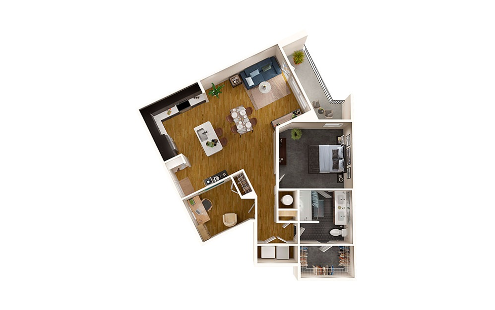 A7 - 1 bedroom floorplan layout with 1 bath and 977 square feet.