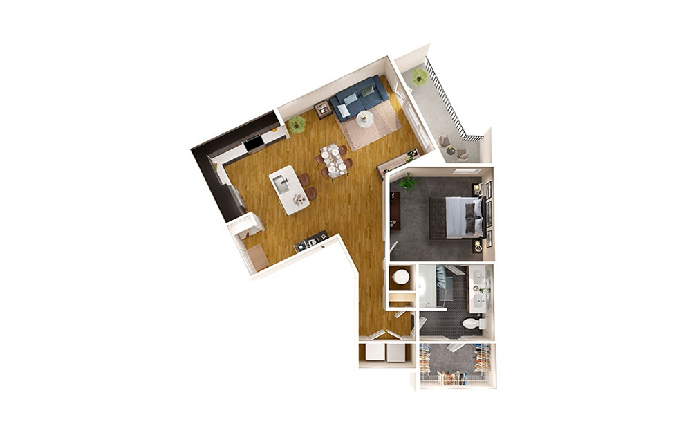 A7A - 1 bedroom floorplan layout with 1 bath and 883 square feet.