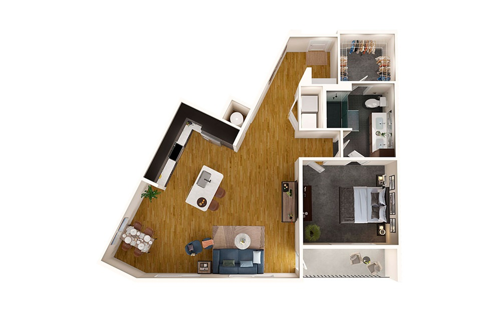 A8 - 1 bedroom floorplan layout with 1 bath and 930 square feet.