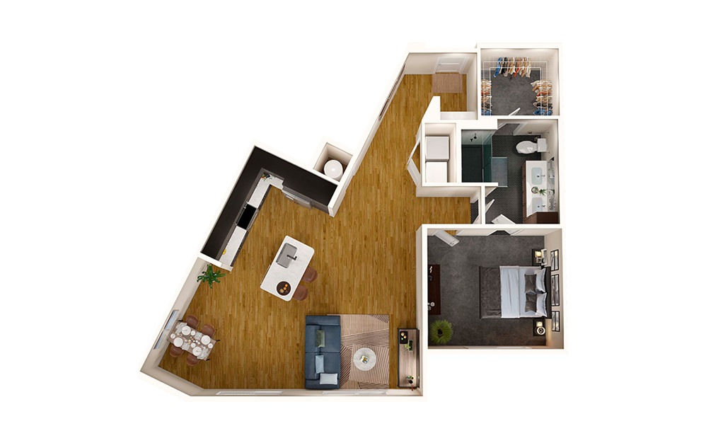 A8A - 1 bedroom floorplan layout with 1 bath and 1000 square feet.