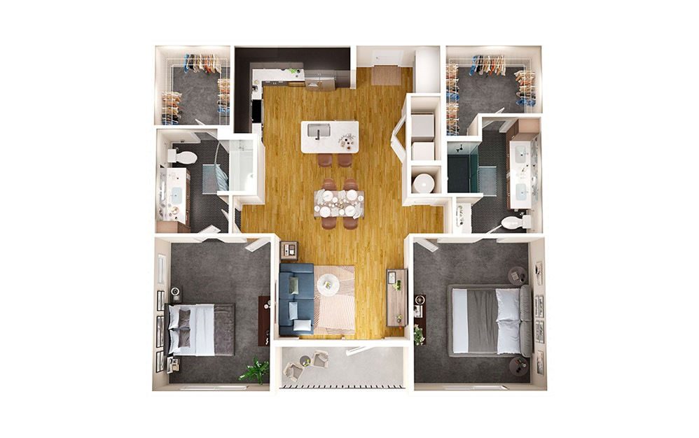 B1 - 2 bedroom floorplan layout with 2 baths and 1188 square feet.