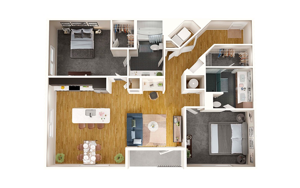 B2 - 2 bedroom floorplan layout with 2 baths and 1218 square feet.
