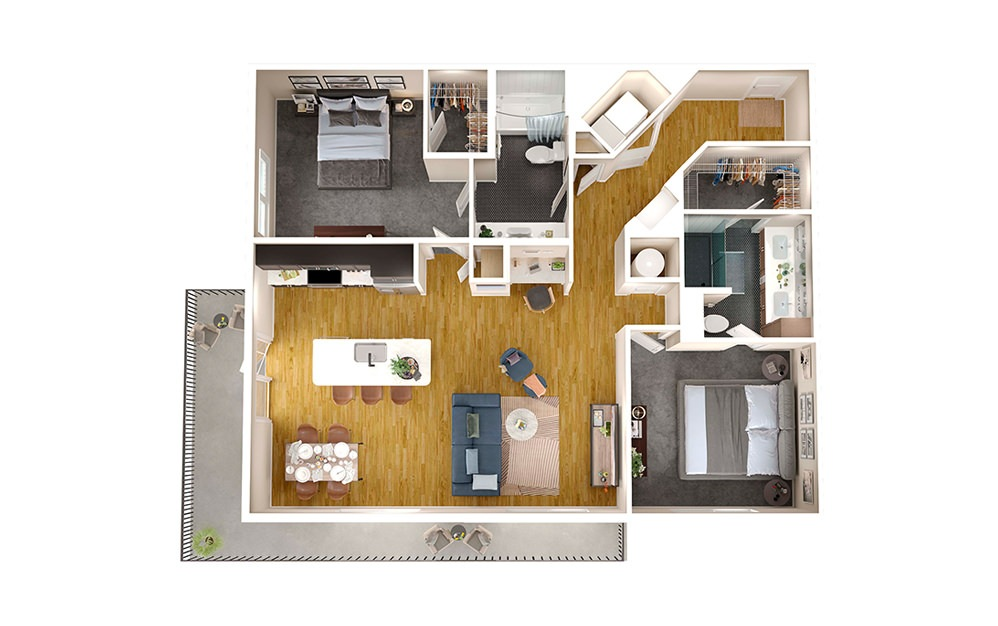 B2B - 2 bedroom floorplan layout with 2 baths and 1260 square feet.