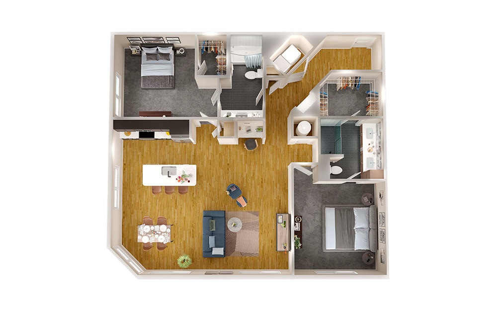 B2C - 2 bedroom floorplan layout with 2 baths and 1343 square feet.