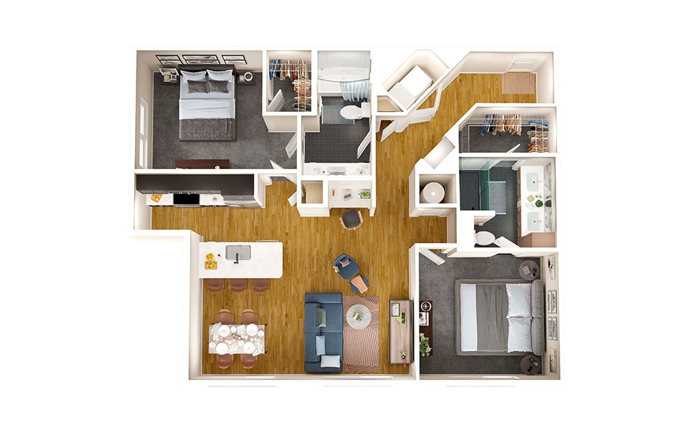 B2E - 2 bedroom floorplan layout with 2 baths and 1141 square feet.