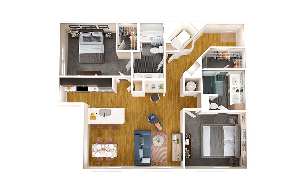 B2F - 2 bedroom floorplan layout with 2 baths and 1201 square feet.