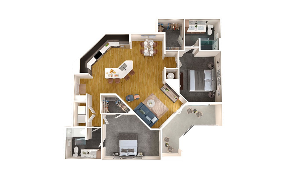 B3 - 2 bedroom floorplan layout with 2 baths and 1267 square feet.