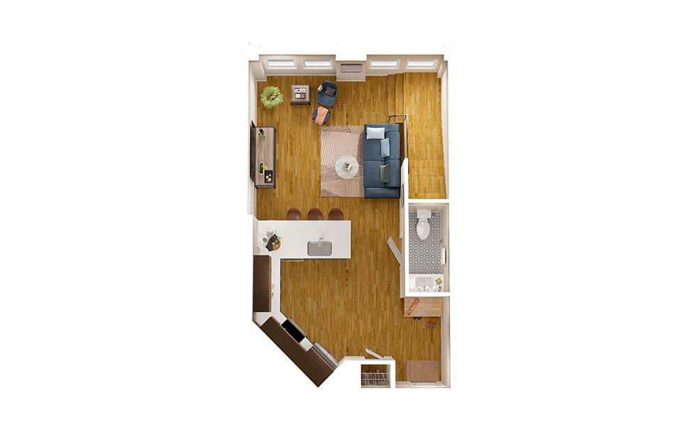 A1 Townhome - 1 bedroom floorplan layout with 1.5 bath and 1214 square feet. (Floor 1)