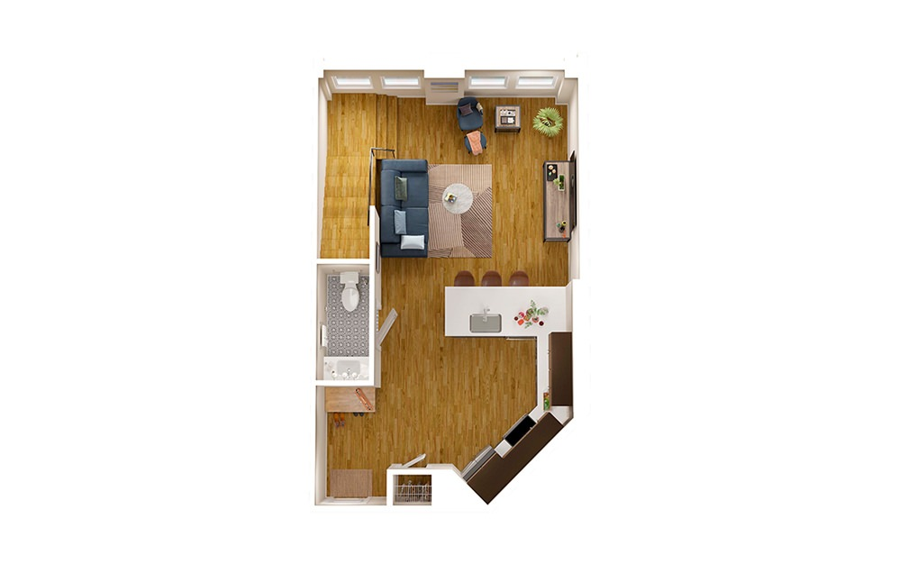 A2 Townhome - 1 bedroom floorplan layout with 1.5 bath and 1356 square feet. (Floor 1)