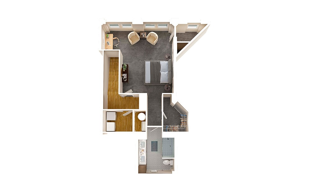 A2 Townhome - 1 bedroom floorplan layout with 1.5 bath and 1356 square feet. (Floor 2)