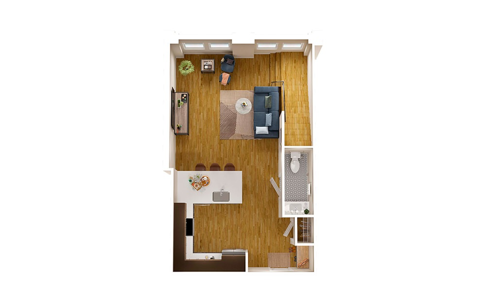 B1 Townhome - 2 bedroom floorplan layout with 2.5 baths and 1594 square feet. (Floor 1)