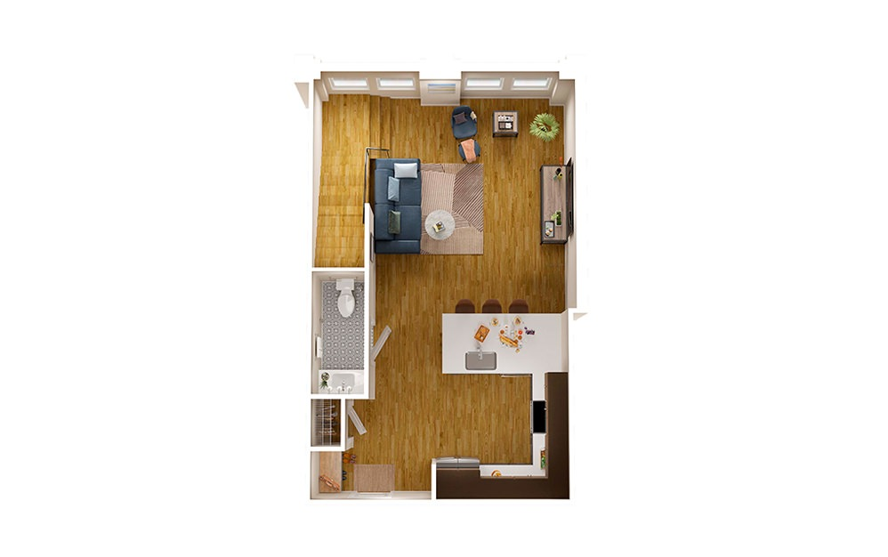 B2 Townhome - 2 bedroom floorplan layout with 2.5 baths and 1795 square feet. (Floor 1)