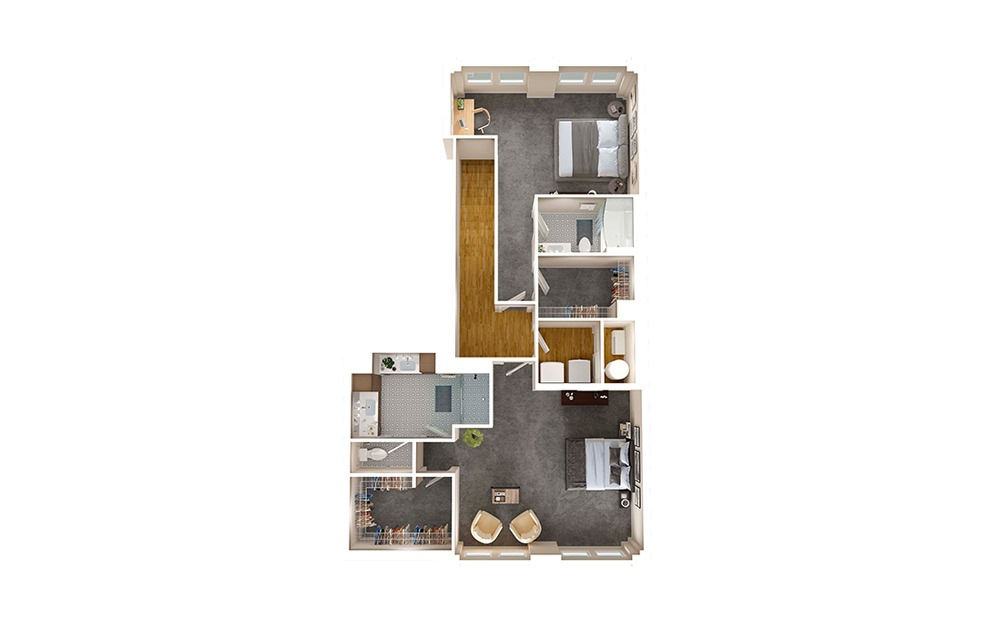 B2 Townhome - 2 bedroom floorplan layout with 2.5 baths and 1795 square feet. (Floor 2)
