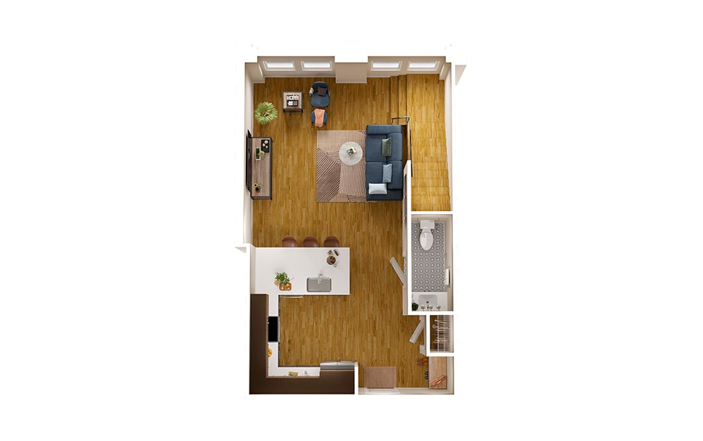 B3 Townhome - 2 bedroom floorplan layout with 2.5 baths and 1695 square feet. (Floor 1)