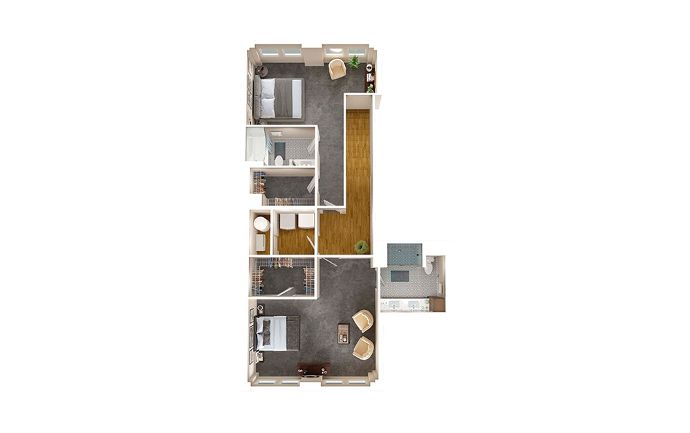 B3 Townhome - 2 bedroom floorplan layout with 2.5 baths and 1695 square feet. (Floor 2)